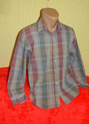 Рубашка в клетку бордовая с розовым на мальчика подростка