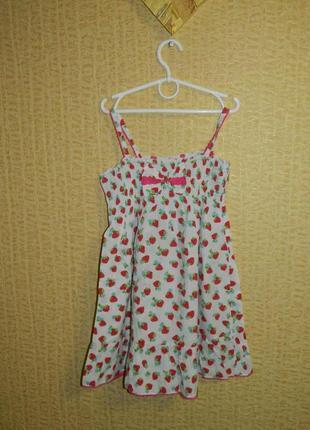 Платье сарафан на девочку 6-7 лет с клубничками