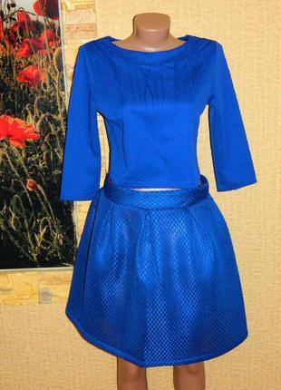 Костюм новый кофточка и юбка цвет электрик синий р. 44-46