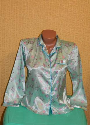 Кофта шелковая пижамная со звездами на девочку подростка 11-12...