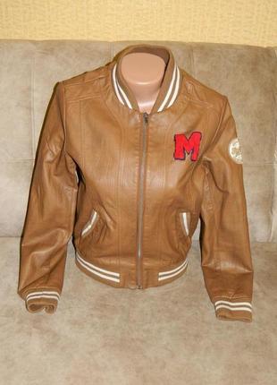 Куртка демисезонная коричневая кожзам на девочку подростка раз...