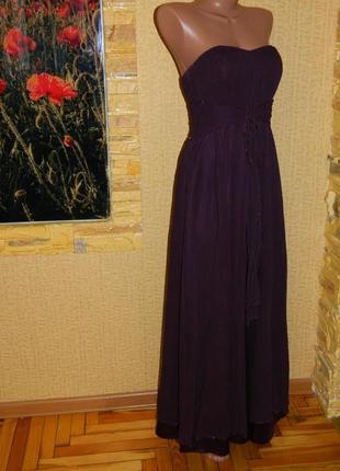 Платье нарядное вечернее цвет темно-фиолетовый бюстье размер 4...