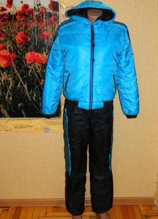 Костюм женский зимний тёплый куртка и штаны голубой с чёрным р...