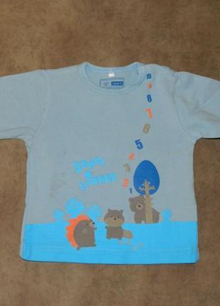 Кофта детская голубая с животными и цифрами на малыша 2-4 меся...