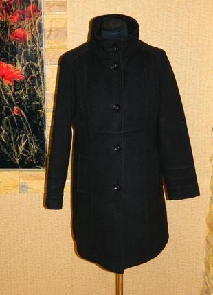Пальто женское черное демисезонное кашемир на пуговицах размер...