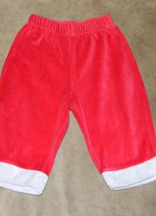 Штаны детские велюровые красные с белым от костюма дед мороз н...