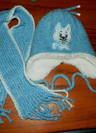 Новый детский тёплый зимний набор шапка и шарф голубой с котен...
