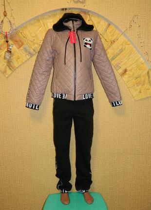 Новый женский зимний костюм куртка и штаны р. 46-48 с мишкой п...