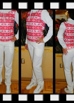 Новый женский костюм белый с принтом красные олени и снежинки ...