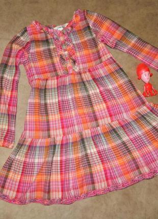 Платье детское розовое в клетку на девочку 7-8 лет h&m.