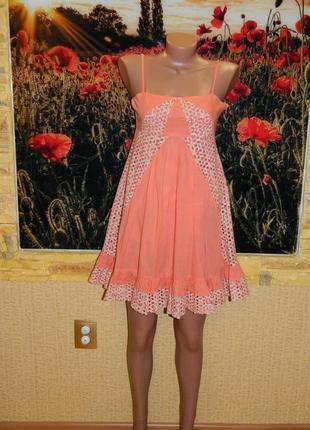 Сарафан летний на бретелях цвет персик размер 44-46.