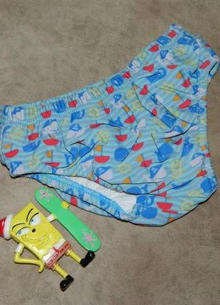 Детские плавки для мальчика 1-2 года голубые с дельфинами.
