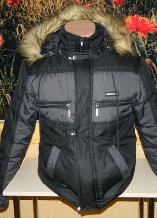 Куртка зимняя чёрная на мальчика подростка 10-12 лет pistons.
