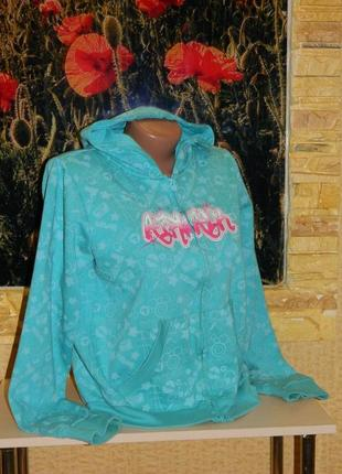 Кофта олимпийка голубая с розовой надписью на девочку подростк...
