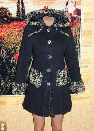 Пальто черное с леопардовым мехом размер 42-44 silverstop.