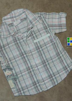 Рубашка детская в клеточку с коротким рукавом на мальчика 1-2 ...