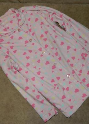 Кофта пижамная розовая с сердечками на пуговицах на девочку по...
