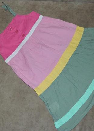 Платье сарафан детское розовое на бретелях на девочку 3-4 года...