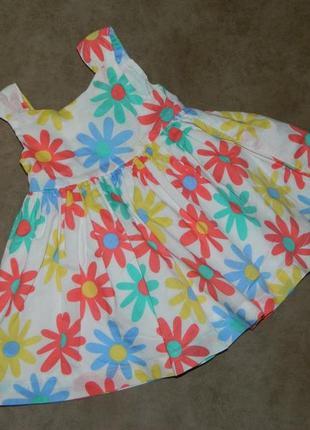 Платье белое с разноцветными ромашками на малышку mothercare.
