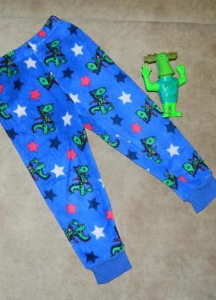 Штаны детские пижамные тёплые с драконом синие на мальчика 2-3...