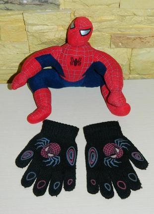 Перчатки детские чёрные с человеком-пауком spider-man.
