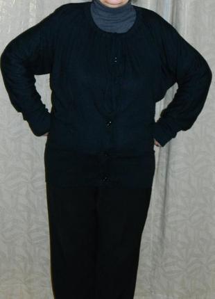 Женская кофта туника теплая черная р. 52-54
