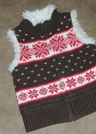 Детская теплая жилетка коричневая со снежинками на девочку 6-7...