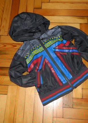 Куртка ветровка детская серая с флагом на мальчика 3-4 года.