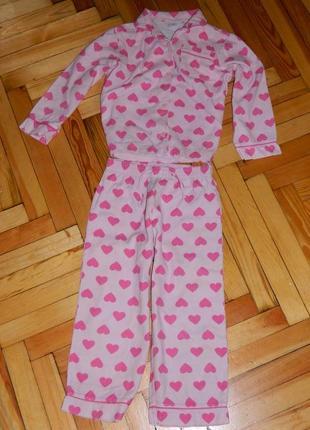 Пижама детская розовая с сердечками на девочку 5 лет baby gap.