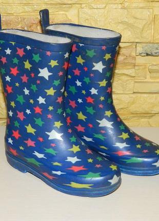 Сапоги резиновые детские синие со звездами.