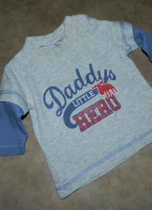 Кофта детская серая с надписью daddy's little hero next на мал...