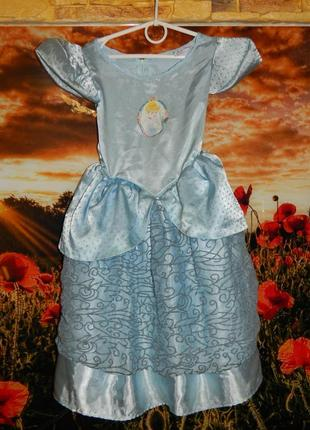 Платье нарядное карнавальное золушка голубое на девочку 3-5 ле...