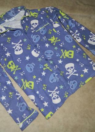 Кофта пижамная синяя с черепами на мальчика подростка 9-10 лет...
