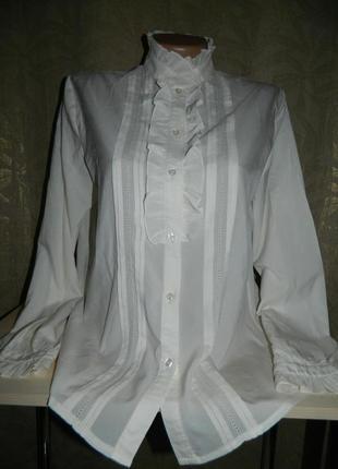 Блуза женская белая на пуговицах размер 46-48.