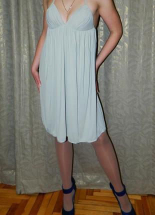 Платье бежевое с твердыми чашками и завышенной талией р. 44-46...