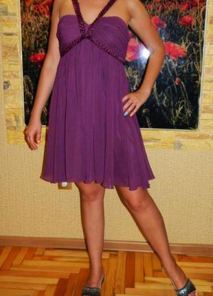 Платье фиолетово - бордовое нарядное с завышенной талией р. 46...
