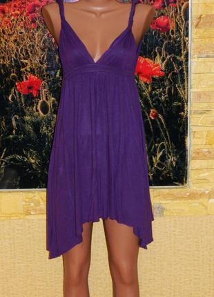 Платье - туника фиолетовое завышенная талия - асимметрия р. 44...