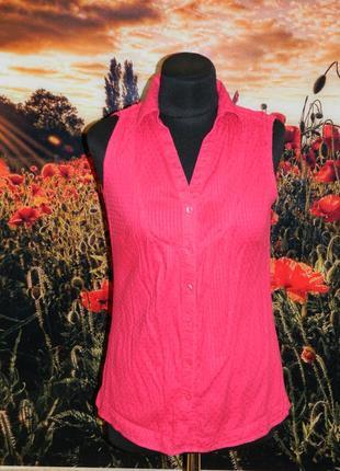 Женская рубашка - жилетка - безрукавка ярко-розовая р. 42-44 tu