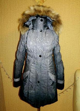 Пуховик женский пальто куртка серый зимний р. 42-44