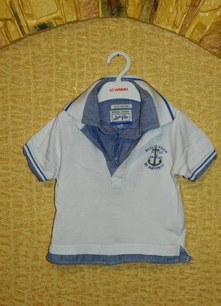 Детская футболка на мальчика в морском стиле имитация с рубашк...