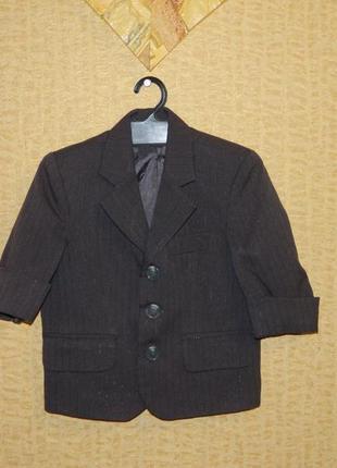 Детский серый пиджак на мальчика с блестящей полосочкой