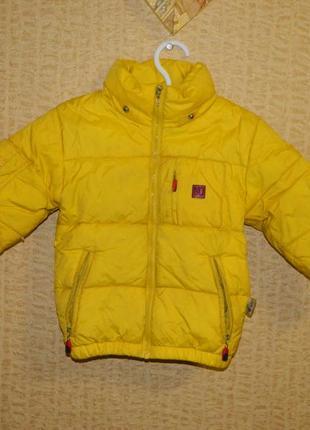 Куртка пуховик детская жёлтая natural down на 2-3 года