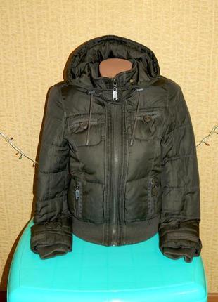 Куртка демисезонная темно-зеленая на девочку подростка new look