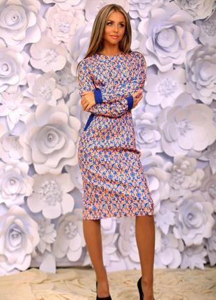 Платье новое сетка из цветов пудра р. 42-44