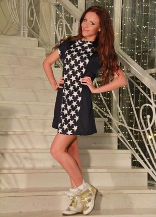 Платье новое свободного кроя черное с белыми звездами р. 44-46
