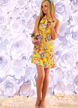 Платье новое желтое с цветами и завязками на шее – лен р. 44-46