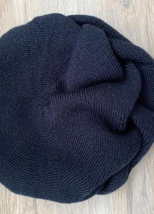 Тёплый новый стильный  женский темно синий  берет шапка
