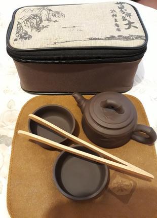 Чайник и пиалы из глины Набор для чайной церемонии авторский
