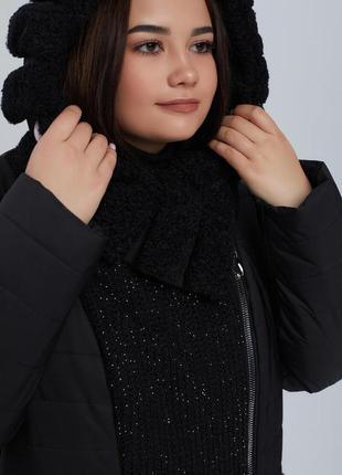 Двубортное зимнее комбинированное пальто больших размеров с ка...