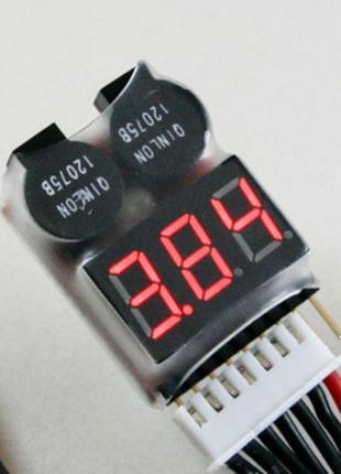 Сигнализатор разряда аккумулятора (1S-8S Li-Po, LiI)